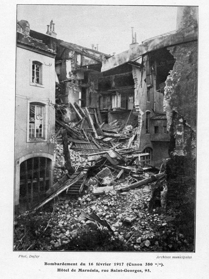 Le bombardement du 16 février 1917 à Nancy (Photographie Dufey, archives municipales)